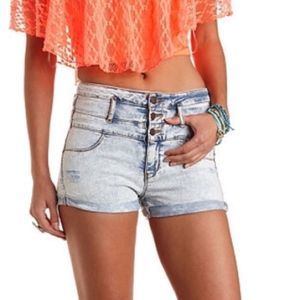 Refuge | Acid Wash Distressed High Waist Shorts